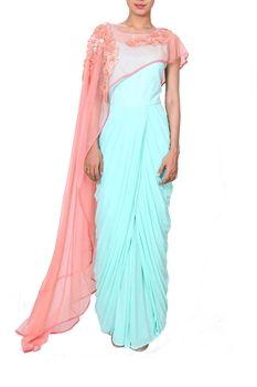Show details for Sleeveless Aqua Dress with a Flower-Tucked Peach Cape