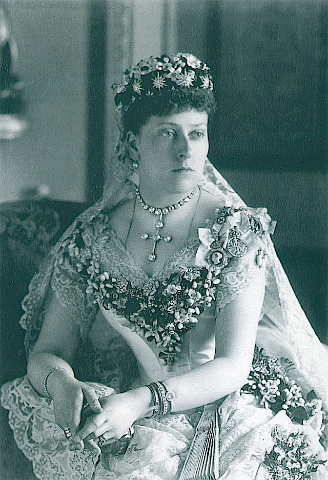 Princess Beatrice, youngest daughter of Queen Victoria, on her marriage in 1885' wearing diamond star tiara she received as a gift from her mother
