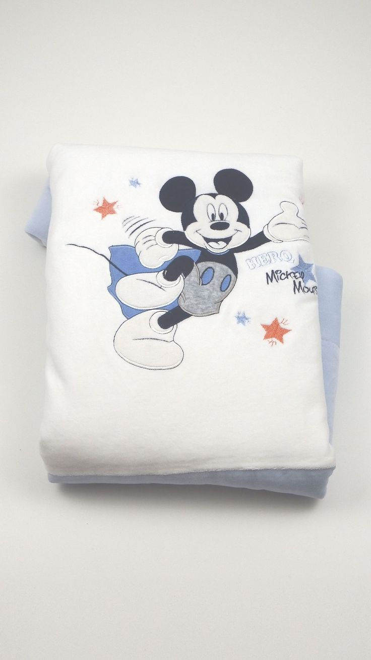 Coperta culla Disney originale realizzata in ciniglia di cotone imbottita con ovatta termica e foderata in jersey di cado cotone centimetri 65 X 85