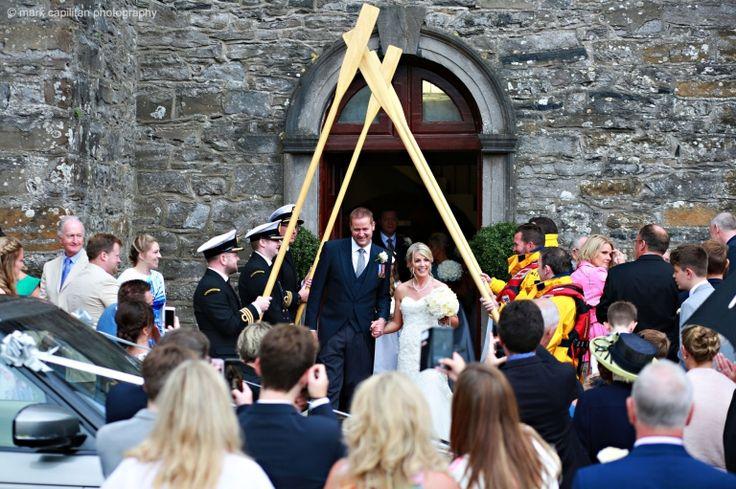 Coastguard guard of honor RNLI bride and groom wedding photographer sligo