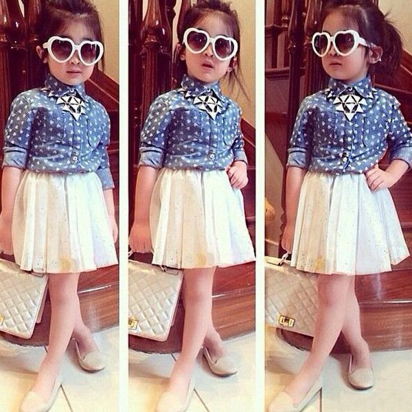 denim blouse with pleated skirt kinder kleider laessige outfits