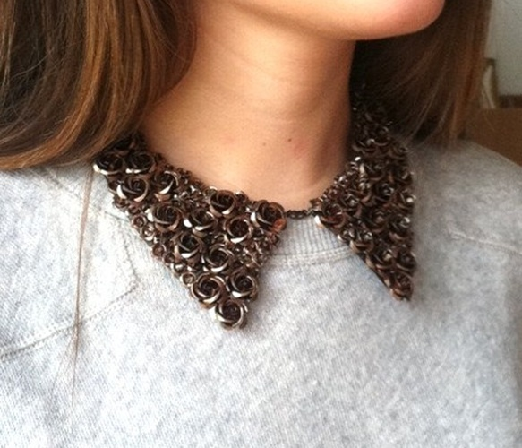 LauraBusony, Metal Oxford Collar Bib Necklace with Bronze Aluminum Roses, $78.00