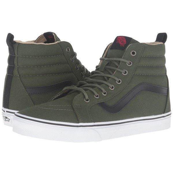 Vans SK8-Hi Reissue PT ((Military Twill) Rifle Green/True White) Skate... ($75) ❤ liked on Polyvore featuring shoes, sneakers, high top sneakers, vans shoes, vintage sneakers, white high tops and high top skate shoes