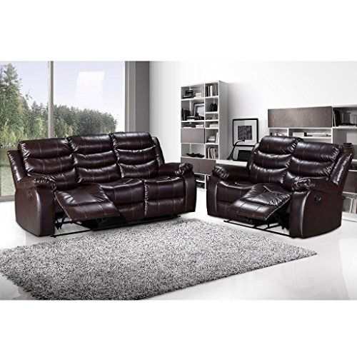 LANGRIA 2-Seater & 3-Seater Bonded Leather Recliner Chair Sofas Set, Split Back Design, Pillow Top Backrest and Armrests, Elevating Footrest, 300 lbs. Capacity, Recline from 100¡ã to 155¡ã