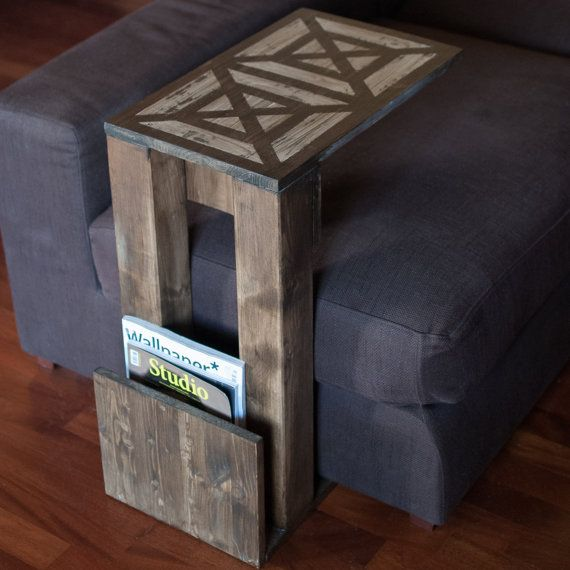 Talbert - Side table, sofa table made of wood and decorated with a painted pattern // shabby chic, hipster, country style