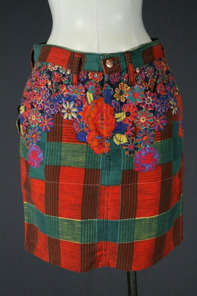 1980's Kenzo floral and plaid print brushed cotton skirt.