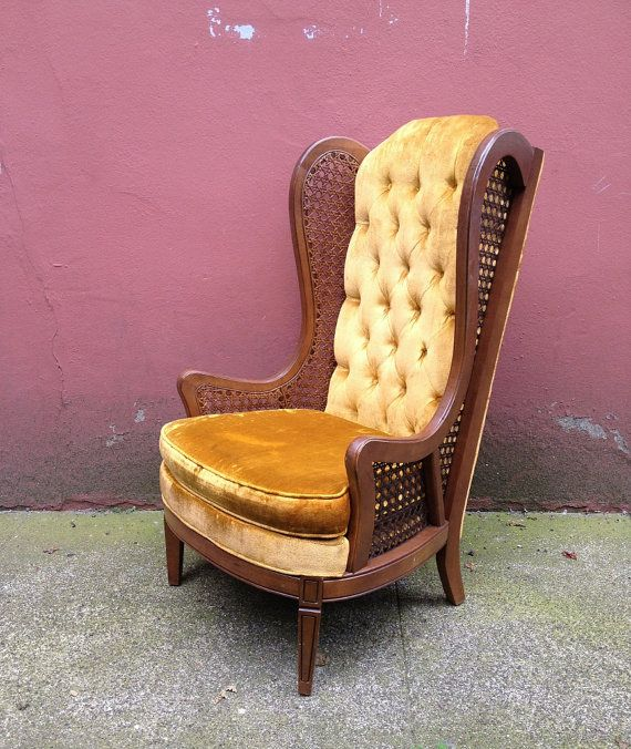 Delightful Vintage Hollywood Regency Cane Wingback Chair. Gold Velvet Upholstery With  Tufted Back. Min Century