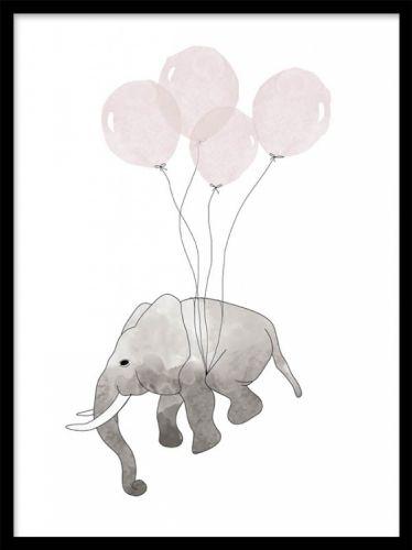 Elephant Pink, posters. Illustrationer för barn. Barnposter med liten elefant som flyger med rosa ballonger. En gullig illustration som är underbar för fantasin och passar perfekt i barnrummet. Vi har även en likadan barnposter blåa ballonger. Sätt våra posters i ramar och gör fina barntavlor.