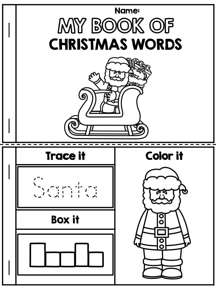 free my book of christmas words packet also - Holiday Worksheets For Kindergarten
