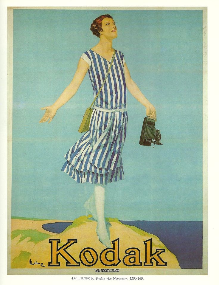 Artistic vintage advertisments, posters, art | Vintage French HOLIDAYS, Kodak, camera advertising poster - 1920s girl ...