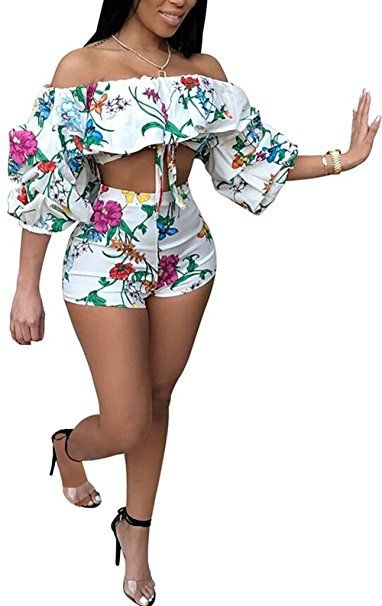 93f193ffe53a LKOUS Womens Summer Sexy Off Shoulder Puff Floral Print Crop Top Short  Pants Party Jumpsuits Rompers 2 Piece Outfit