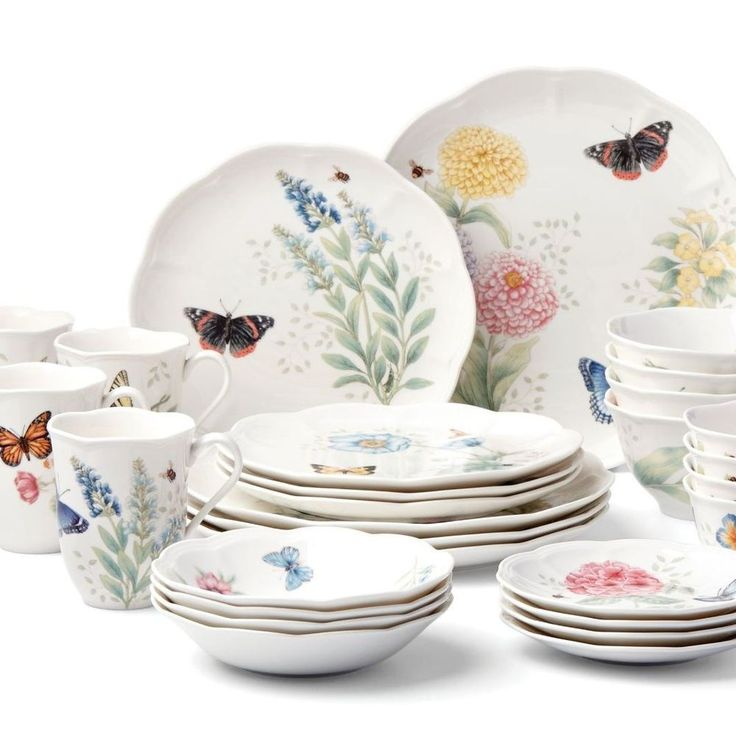 """Butterfly Meadow is truly a contemporary mix and match classic Ceramic Dinnerware Set.  This 28 piece set includes four 11"""" dinner plates, four 9"""" salad plates, four 6-3/4"""" fruit dishes, four 6"""" party plates, four 12-oz mugs, four 16-oz bowls, and four 12-oz dessert bowls."""