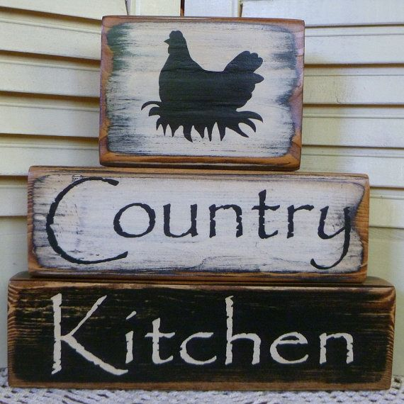 primative wooden blocks  | Primitive Country Kitchen Chicken Block Set Shelf Sitter Hand Painted ...