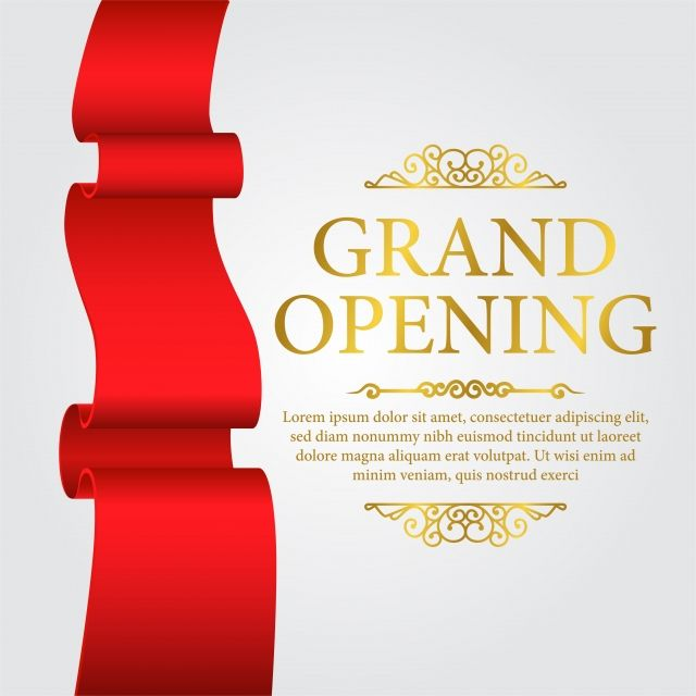 Grand Opening Template Banner Poster With Red Silk And Gold Text Template Vector And Png Grand Opening Grand Opening Banner Gold Text