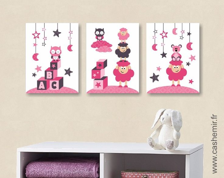 poster affiche lot de 3 illustrations pour chambre d 39 enfant fille d coration chambre b b r f. Black Bedroom Furniture Sets. Home Design Ideas
