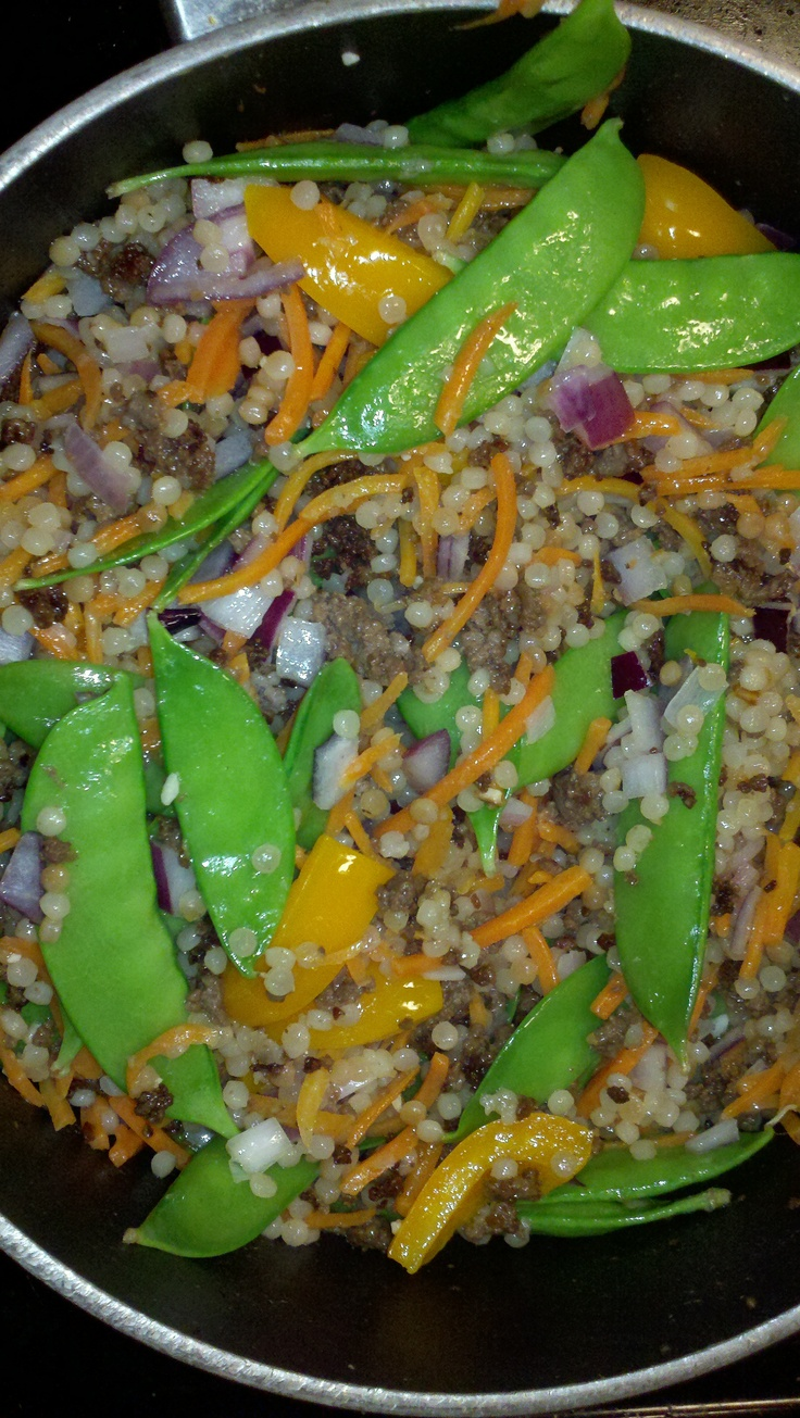 Israeli Couscous with fresh veggies and ground beef-one box plain ...