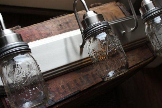 Upcycled Vanity Light : Mason Jar Vanity Light // Brushed Nickel // Rustic Decor // Refurbished // Upcycled Jars ...