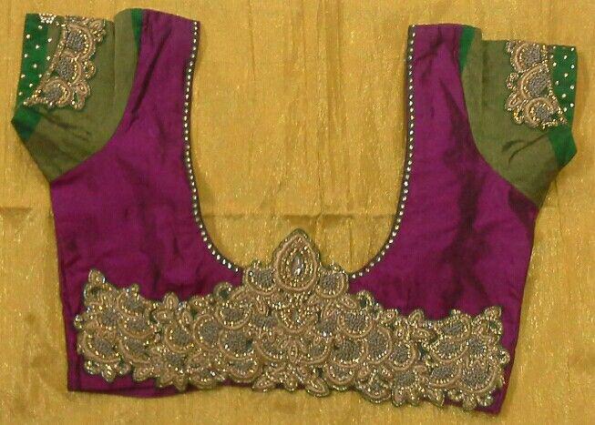 Pattu blouse with stone and gold zari work 91 9866583602