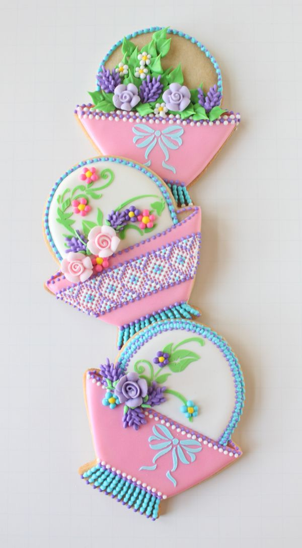 A bevy of cookie flower baskets by Julia M. Usher, www.juliausher.com