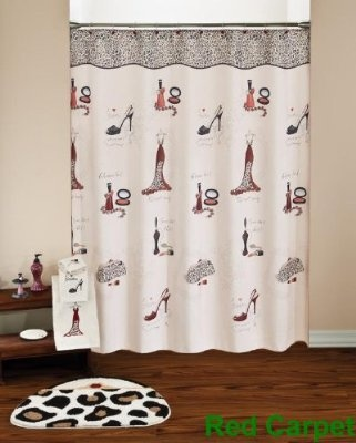 Show your sense of style with the this red carpet bath collection  This  black and white and leopard grain ensemble has just a hint of fuschia  High  heels. 14 best My Bathroom images on Pinterest   Shower curtain hooks