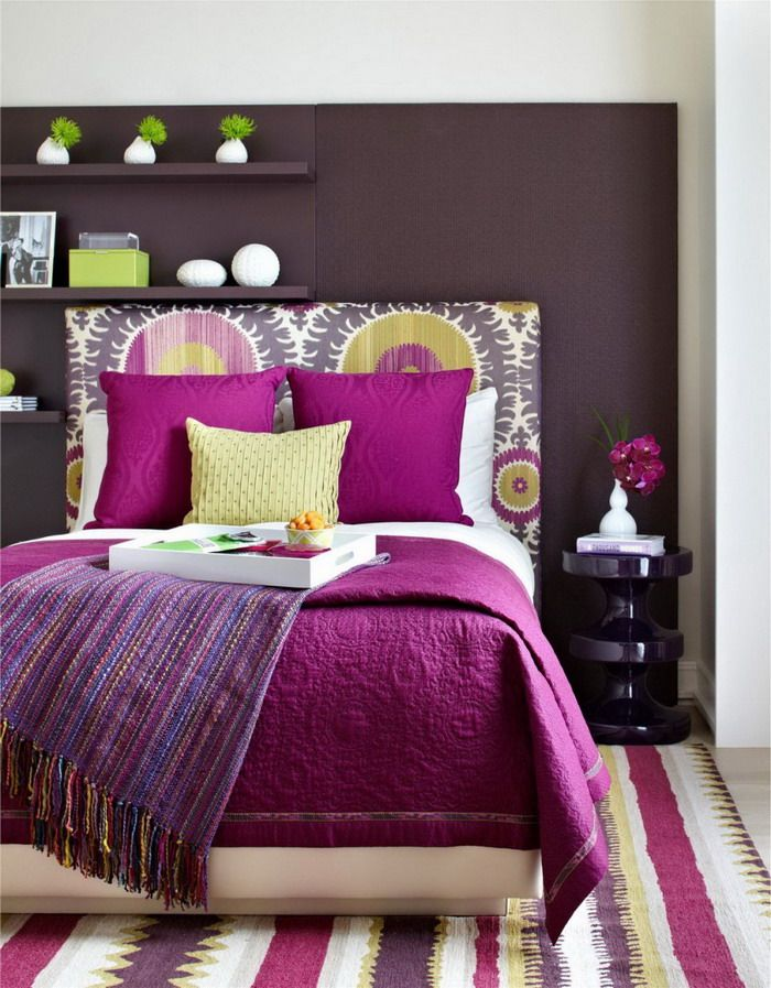 Bold Purple Bed Covers in Modern Bright Master Bedroom