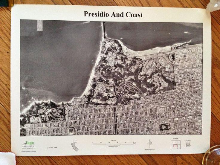 Presidio & Coast; MyTopo.com Custom Poster Map of San Francisco #Photograph