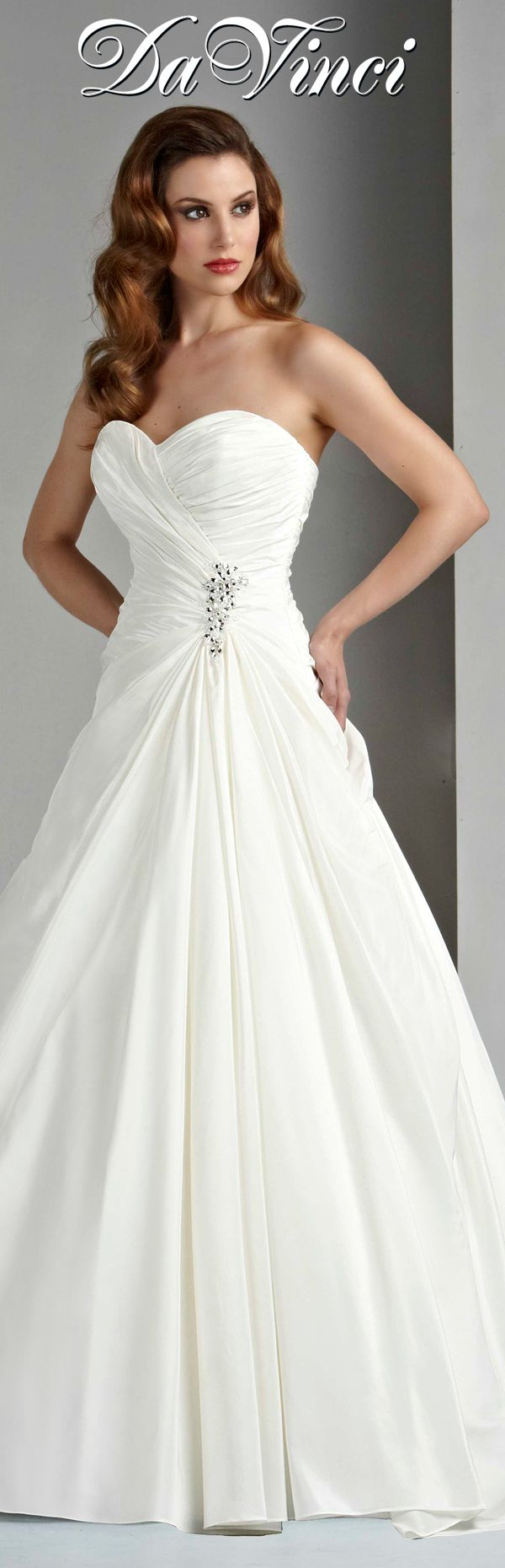 DaVinci Bridal Style # 50028 Taffeta A-line gown with a sweetheart strapless neckline, pleating draped from neckline and throughout the skirt, and the waist is adorned with a beaded embellishment.  Lace-up back. http://www.davincibridal.com/