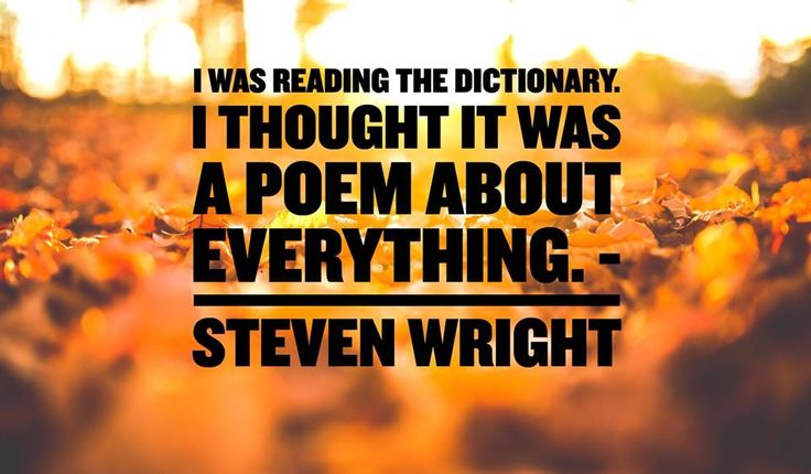 """I was reading the dictionary. I thought it was a poem about everything."" - Steven Wright #LingQ #Dictionary #Quote"