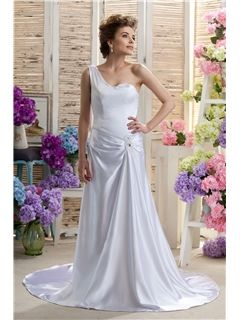 Brilliant Sheath Column One Shoulder Floor Length Chapel Darias Wedding Dresses