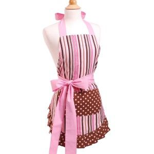 Kitchen fashion: Pink apron with pink & chocolate brown stripes, polka dots and a side pink bow