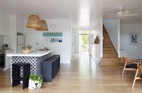 Possibly my favourite kitchen ever (those bench tiles!) #atlanticbyronbay www.atlanticbyronbay.com.au