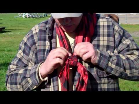 Buckaroo Knot - 4 Square Knot - Wild Rags Neckerchief  Cowboy Bandana- Rick Gore Horsemanship