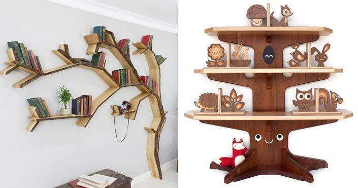 15 nápadov na neobyčajné police v tvare stromu, ktoré rady podržia vaše knihy, ako aj plyšové hračky detí. Kreatívne nápady na dizajnové poličky, nábytok