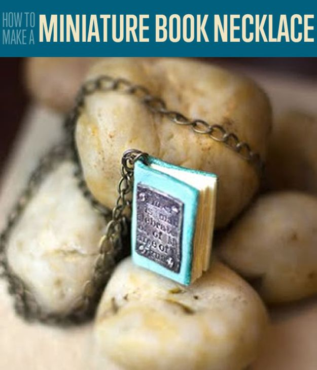 Bind up your favorite lyrics, or anything you'd like with this personalized necklace. This miniature book DIY necklace is a stylish piece of wearable art.