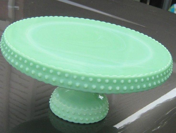 Vintage L.E. Smith Jadeite Jade Hobnail Marble Swirl Cake ...