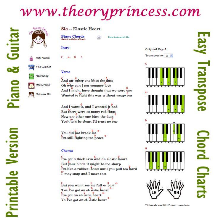 Theory Princess Piano Guitar Chords Lyrics To Songs