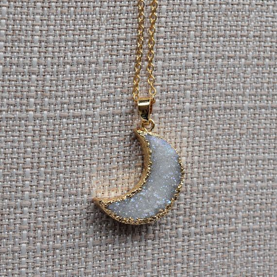 Gift for her Natural White Druzy Crescent Moon Necklace Healing Crystal Stone Necklace Druzy Moon Necklace Druzy Moon Pendant Necklace