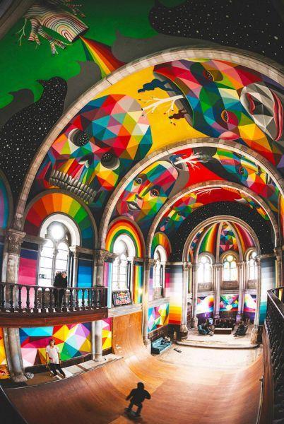 une eglise transformée en temple du street art et du skate okuda