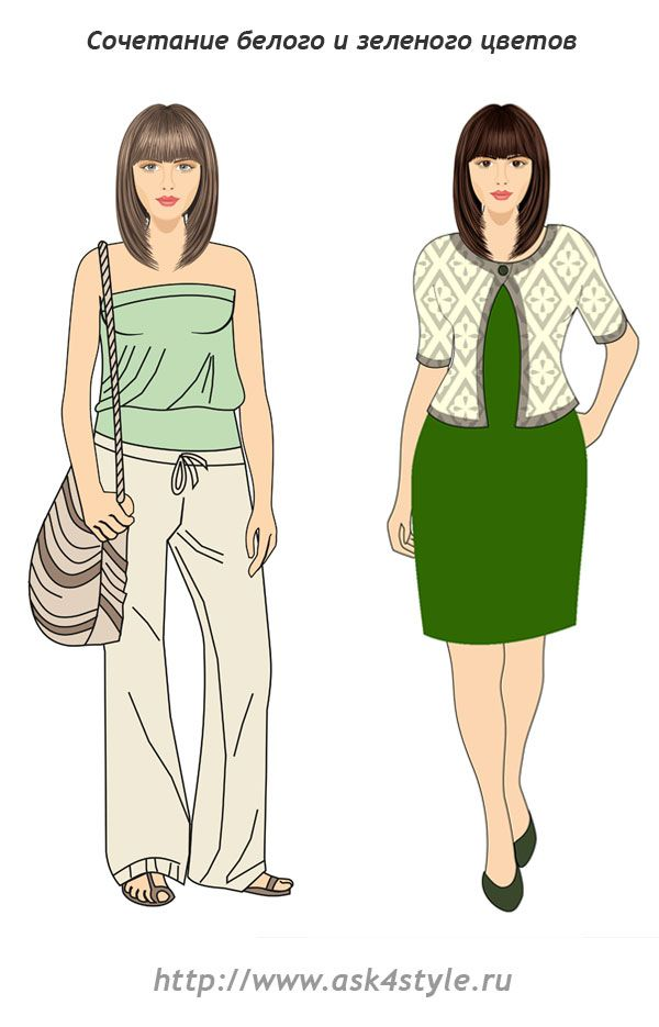 сочетание белого цвета с зеленым