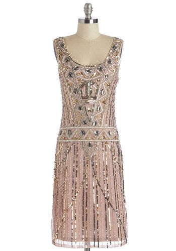 Extravagant Evening Dress - Long, Blush, Silver, Gold, Beads, Sequins, Special Occasion, Party, Holiday Party, Vintage Inspired, 20s, Shift,...