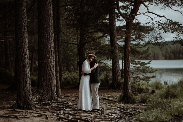 THE KITCHENERS / scotland wedding photography  Jen wore a 1970's dress for her vintage, bohemian and nature inspired forest wedding at The Dell of Abernethy at Abernethy Bridge in the Scottish Highlands. Photography by The Kitcheners.