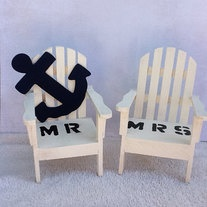 $29  nautical -Beach Chairs- Adirondack Cake Topper- Mr. & Mrs .With Anchor- READY TO SHIP