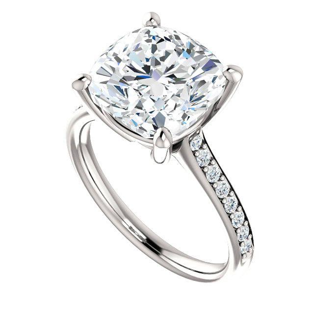5 Carat (10mm) Cushion Forever One Moissanite & Diamond Ring, Cushion Moissanite Engagement Rings for Women 14k, 18k or Platinum, Moissanite Bridal, 5ct Moissanite Rings, Large Moissanite Wedding Rings