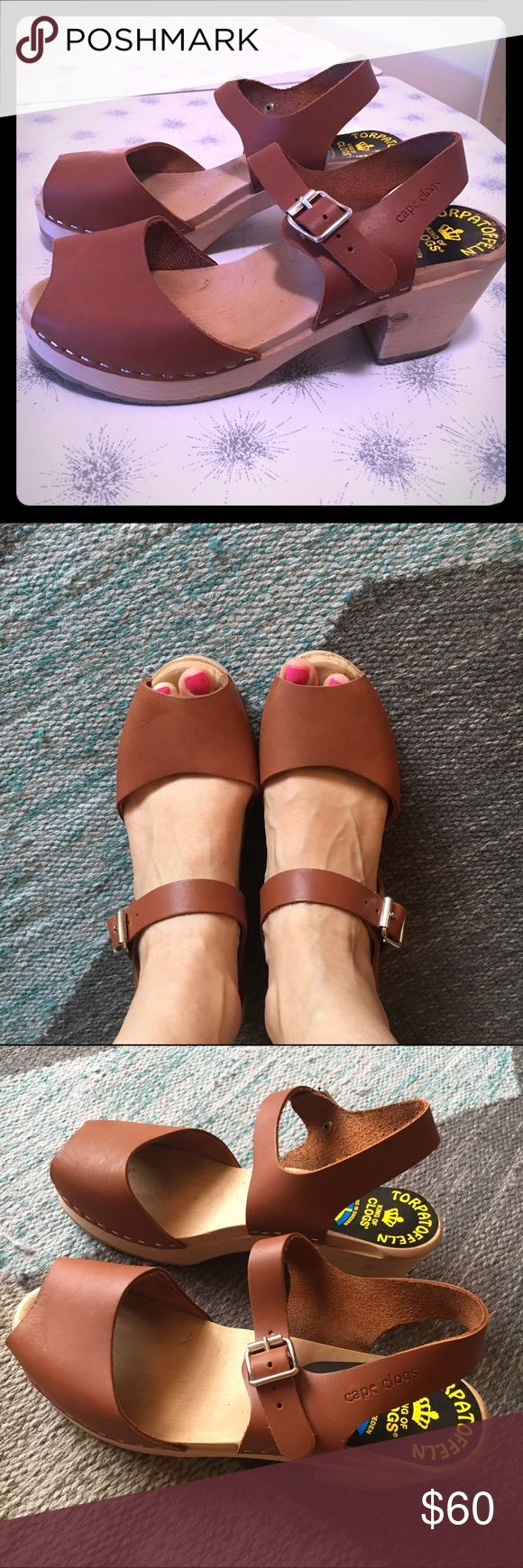 Cognac leather clogs Torpatoffeln/Lotta cognac leather wooden clogs, size  39 (8 1/2). Fits like Swedish Hasbeens, but the leather is super soft. Only worn once. Excellent condition and very comfortable! Gorgeous cognac color. Shoes Mules & Clogs