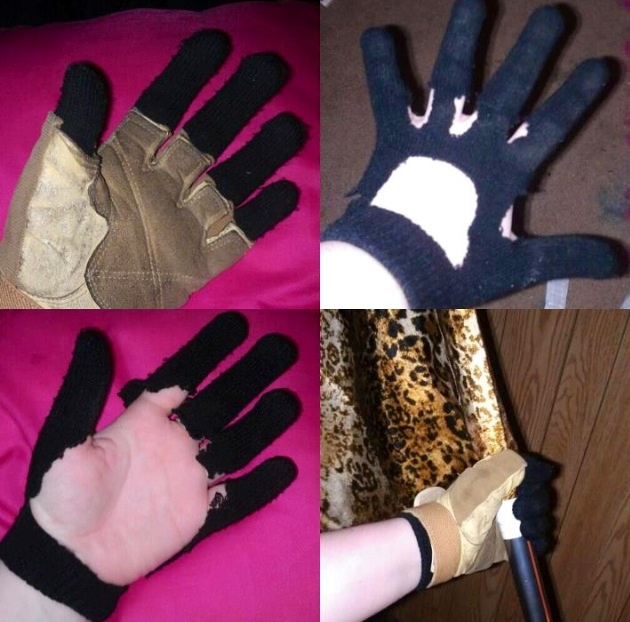 Are you tired of cold fingers while you practice rifle outside in the winter? Take an old pair of black gloves and cut them like panels 2 and 3 show. Then slip your rifles gloves over them and VOILA! warm fingers!