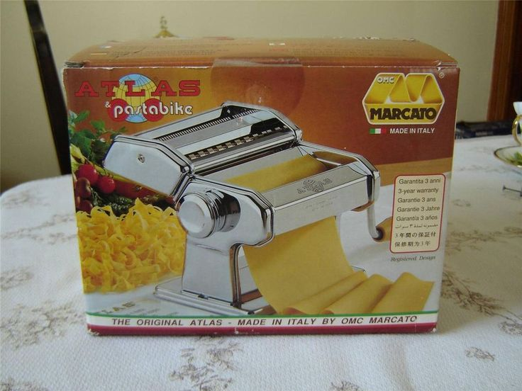 #AtlasMarcato 150 mm #pasta_maker in box with #Pastabike made in Italy NIB  3 section pasta maker - pasta/lasagna roller, fettuccine noodle and spaghetti noodle  Model 150mm Deluxe by Atlas Marcato  Pasta roller has 9 different thickness adjustments using a numbered dial  Crank handle and counter clamp included  This set includes a Pastabike accessory for making wider noodles in various sizes, pasta circles, Agnolotti or Empanadas, Ravioli, Tortellini, and more  12092014LUKE32