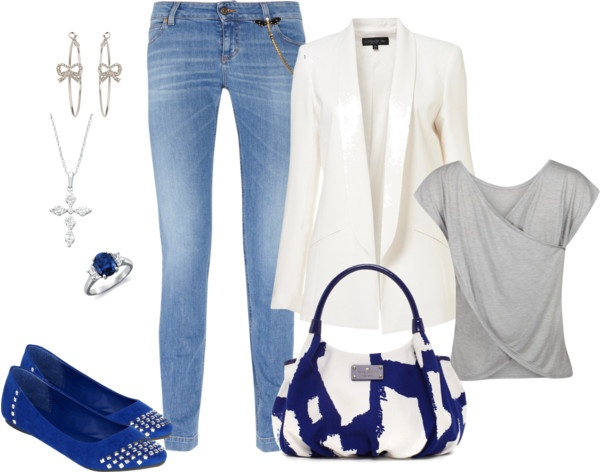 """Blue and White"" by molark on Polyvore: Diff Shoes, Clothing Style, Blue And White"