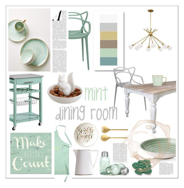 mint dining room by levai-magdolna on Polyvore featuring interior, interiors, interior design, home, home decor, interior decorating, Kartell, George Kovacs by Minka, Anthropologie and Villeroy & Boch