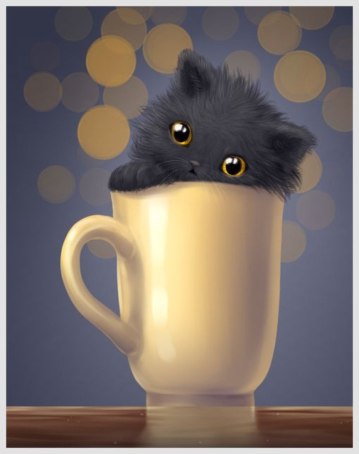 Black kitten in a cup...♥
