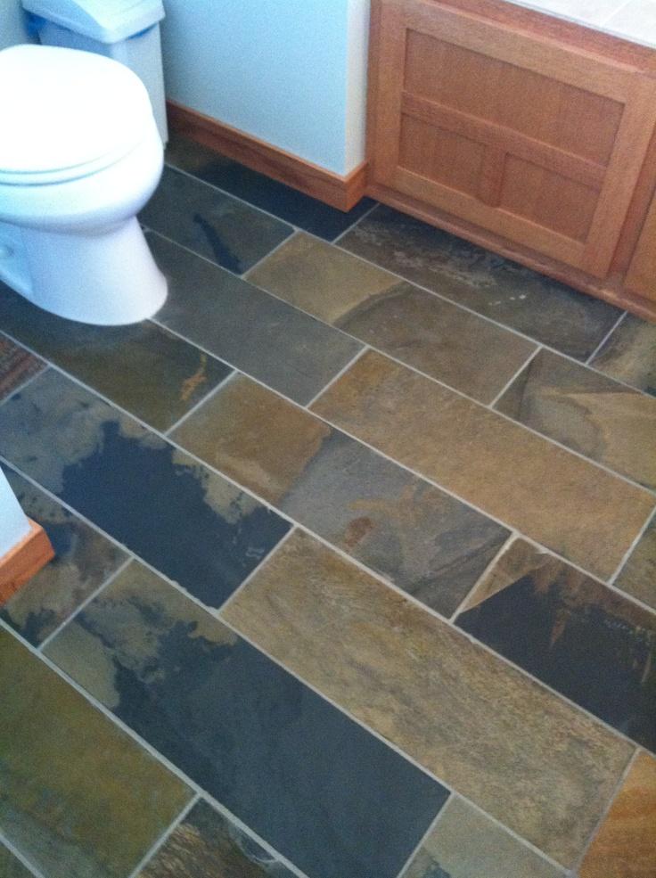 Slate Tile In The Bathroom For The Home Pinterest Slate Basement Finishing And Basements